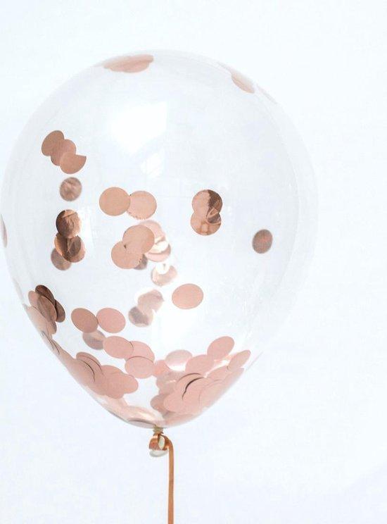 Set ballonnen - 10 st. - rosé goud met confetti en 2 grote folie ballonnen