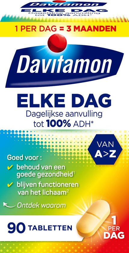 Davitamon Elke Dag met vitamine D - Complete multivitaminen - tabletten - 90 stuks