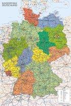 Duitsland kaart poster - Kleurrijke landkaart - Formaat 61x91.5cm