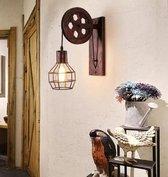 Industriële wandlamp   Katrol lamp vintage   lamp industrieel   muurlamp binnen   Wandverlichting metaal hout   Wandverlichting   Loft   Vintage katrollamp   Industrieel voor binnen   E27 Fitting