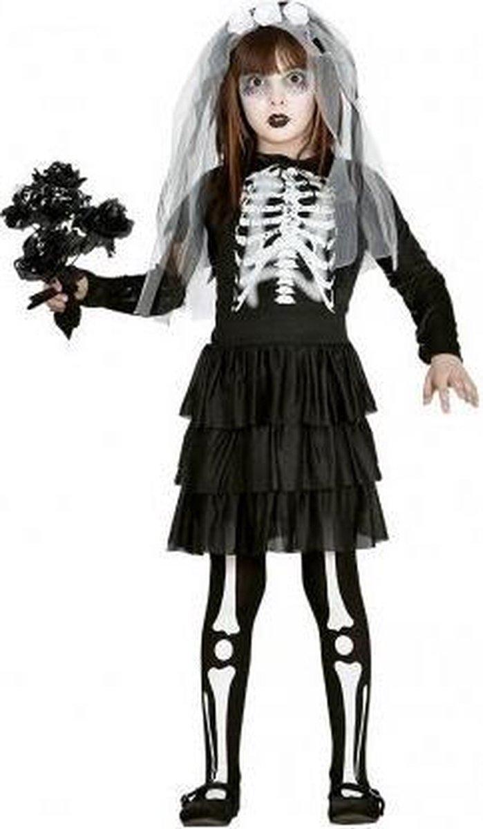 Halloween Skelet bruidsjurk voor meisjes 128-134 (7-9 jaar)