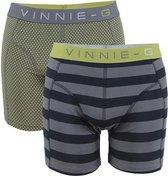 Vinnie-G boxershorts Lime Dot - Stripe 2-pack -L