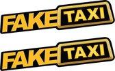 2x Autosticker FAKE TAXI - Grappige sticker voor auto - Mannen stickers - Zwart | Geel