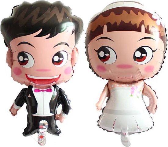 Folieballon huwelijk cartoon man/vrouw 75x40