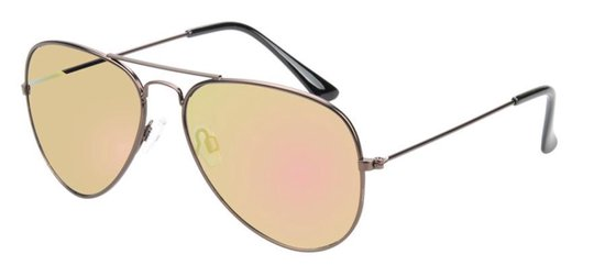 polariserende piloten zonnebril zwart/geel spiegel grijze lenzen