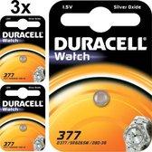 3 Stuks- Duracell 377-376 / G4 / SR626SW knoopcel