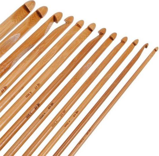 12-Delige Ergonomische Haaknaalden 12 Stuks - Bamboe Crochet Haaknaaldenset