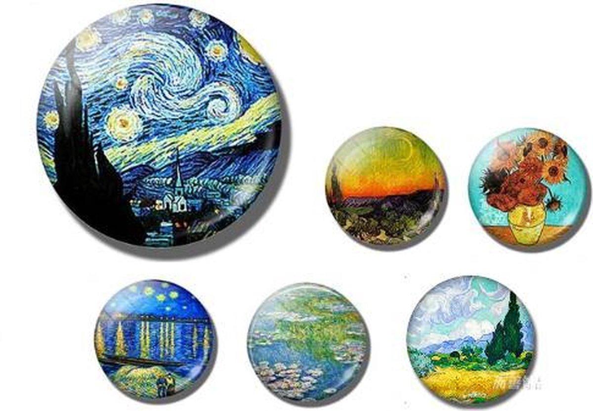 6x Magneet met schilderijen van Van Gogh en Monet