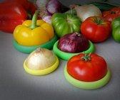 Foodhuggers - 4 stuks - Fresh Greens - Siliconen Deksels - Vershoudbakje - Mini Tupperware