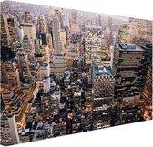 Verlicht Manhattan vanaf boven Canvas 60x40 cm - Foto print op Canvas schilderij (Wanddecoratie woonkamer / slaapkamer) / Steden Canvas Schilderijen