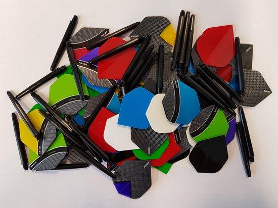 20 sets (60 stuks) curve/skylight dartflights plus 10 sets (30 stuks) dartshafts - dartflight - dartshaft - multipack