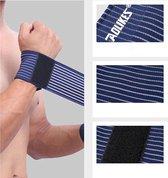 2x Sport Polsbandage (blauw) - Pols bescherming / Zwachtel / Polsband met klitteband