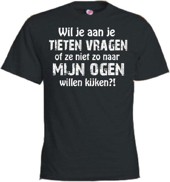 Mijncadeautje T-shirt - Wil je aan je tieten vragen...ogen kijken - unisex Zwart (maat 3XL)