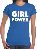 Girl Power tekst t-shirt blauw dames - dames shirt Girl Power L