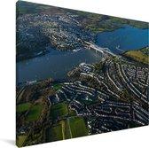 Een luchtfoto van Plymouth Canvas 40x30 cm - klein - Foto print op Canvas schilderij (Wanddecoratie woonkamer / slaapkamer) / Europese steden Canvas Schilderijen