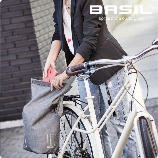 Basil City Fietsshopper - Enkele fietstas - Grijs - 16 Liter