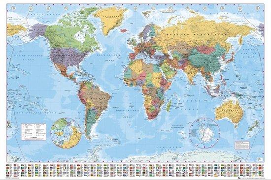 Wereldkaart Poster - Formaat 91,5 x 61 cm -Multi - wanddecoratie