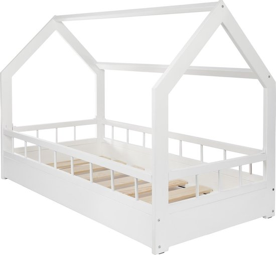 Houten kinderbed - wit - 160x80 cm - met barrière