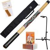 5-delig didgeridoo starterspakket bestaande uit bamboe didgeridoo 120cm inclusief nylon didgeridootas | lesvideo 85min | 3 reepjes pure imker bijenwas | stabiele didgeridoostandaard