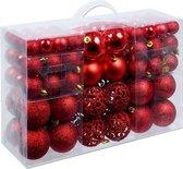 Christmas Gifts Kerstballen set - 3 tot 6 cm - Rood - 100 ballen - Plastic