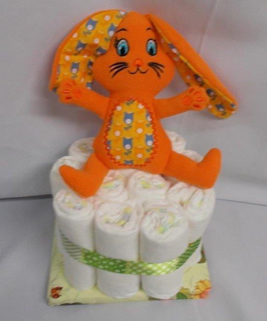 1 laag pampertaart bunny oranje