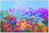 Graphic Message - Tuin Schilderij op Outdoor Canvas - Bloemen - Abstract Bloemenveld - Buiten Kunst