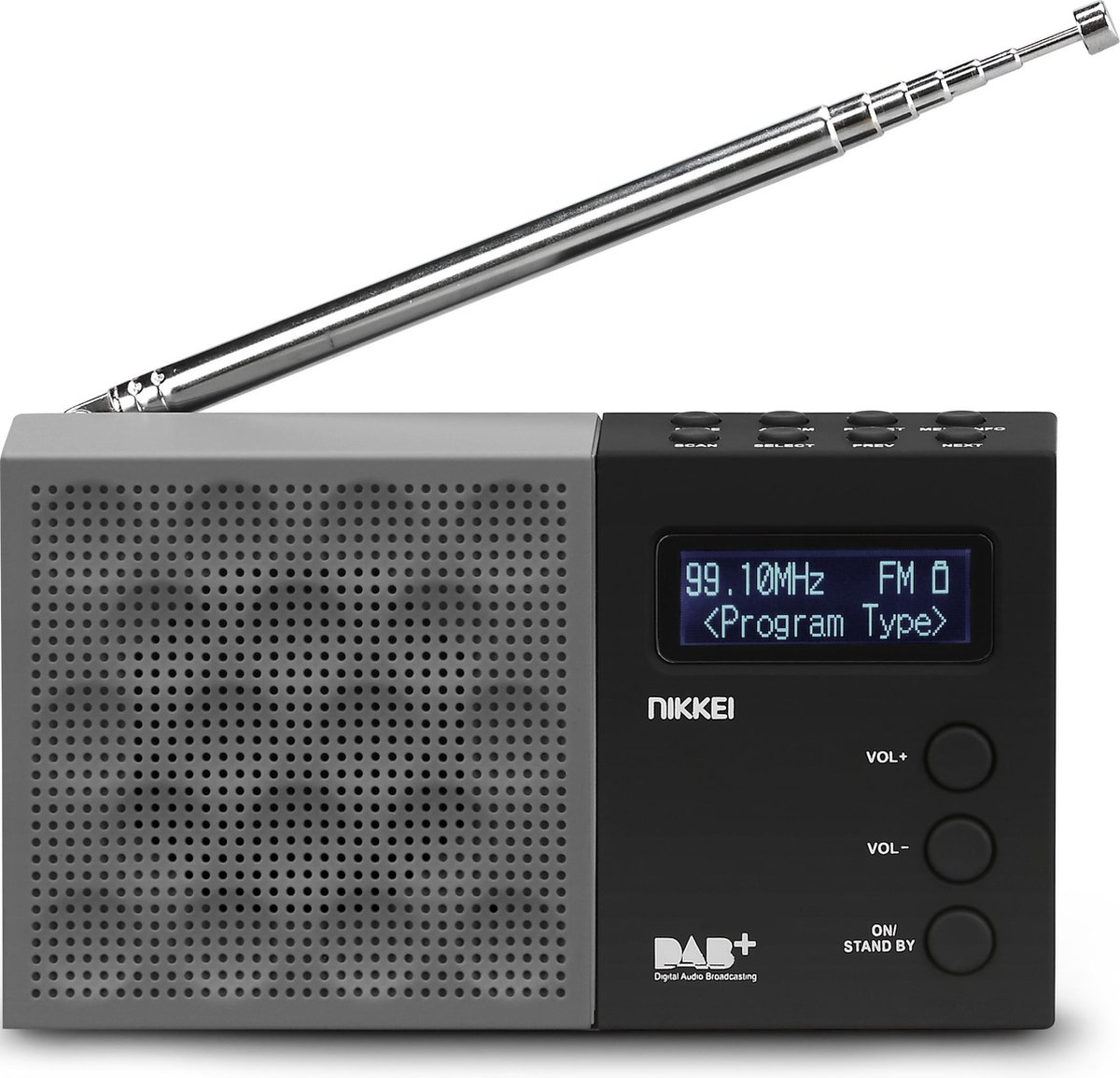 Nikkei NDB30BK - Draagbare DAB+ Radio met FM Wekkerradio - Zwart/Grijs