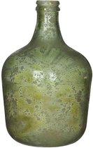 Groene antieklook fles vaas/vazen van glas 27 x 42 cm - Diego - Woonaccessoires/woondecoraties - Glazen bloemenvaas - Flesvaas/flesvazen
