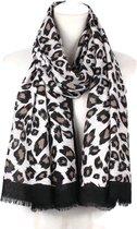 Luipaard panter leopard print dames sjaal beige zand zwart met jacquard in viscose katoen - 85 x 180 cm