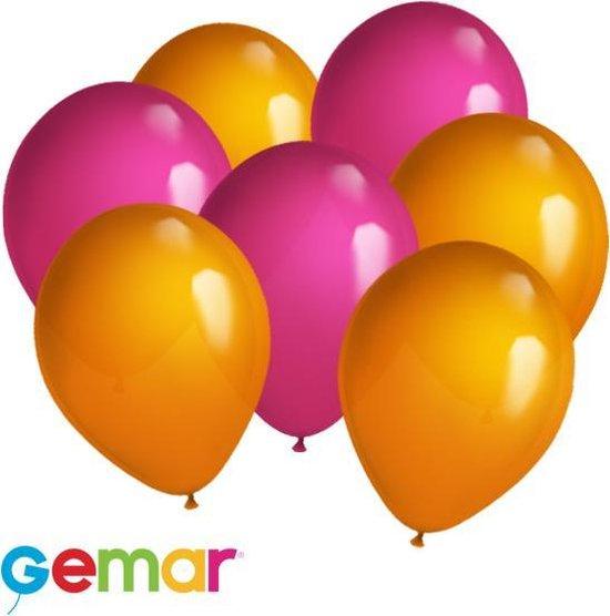 30 ballonnen Fuchsia en Oranje (Ook geschikt voor Helium)