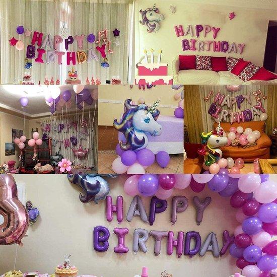 FUFU Eenhoorn-ballonnen, feestdecoratie, met 2 stuks, eenhoorn, ballonbanner en 50 ballonnen, voor party, latex, meisjes, kinderen (violet)