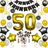 50 Jaar Verjaardag Versiering - Abraham/Sarah - Goud & Zwart - Versiering Verjaardag - Feestartikelen - Jubilea Feestversiering