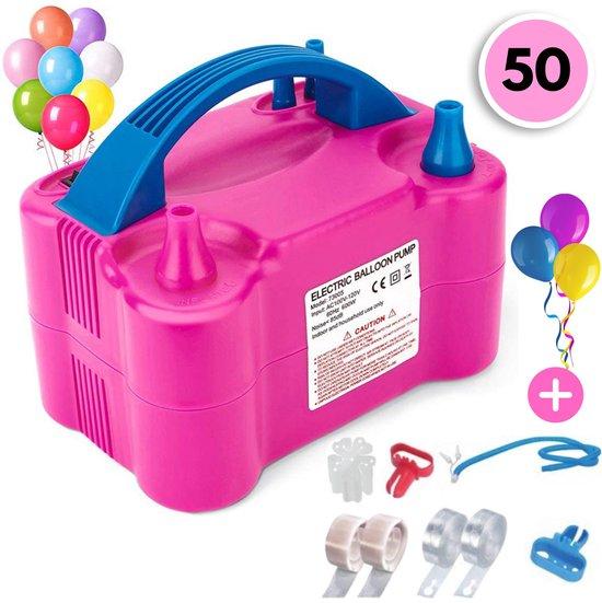Elektrische Ballonnenpomp Met Dubbele Vulfunctie & 50 Ballonnen – Ballonpomp – Snel Ballonnen Opblazen – Feestartikelen – 120 V - 600 W