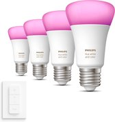 Philips Hue Uitbreidingspakket - White and Color Ambiance - E27 (800lm) - 4 lampen incl dimmer switch