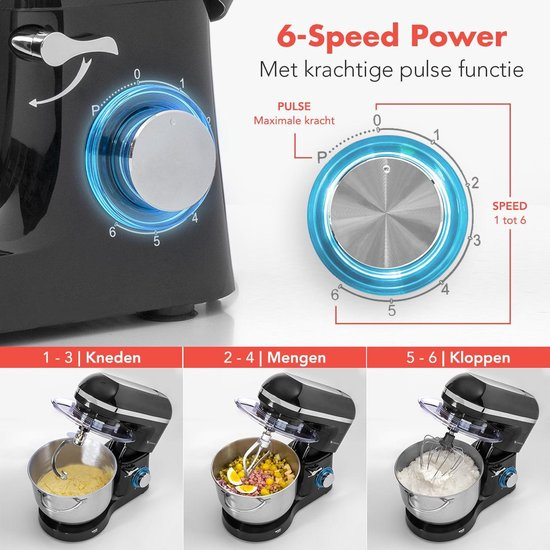 KitchenBrothers Keukenmachine - 1400W Foodprocessor - RVS Mengkom (6L) - Mixer met Garde, Deeghaak, Menghaak - Zwart