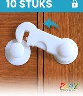 Playcorner Kinderslot Kastjes - 10 Stuks - Kastbeveiliging voor Kinderen - Veiligheidshaakjes - Kastslot - Kindersloten - Ladebeveiliging - Wit