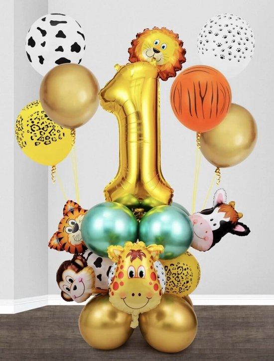 26 stuks ballonen incl. tape set - 26 ballonen - 1 jaar - verjaardag - kinderfeestje - feestje - ballonen - dieren aap - leeuw - giraffe - koe - natuur - decoratie