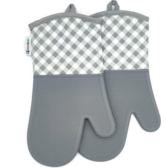 Kitchen4you ovenwanten - ovenhandschoenen - hittebestendige handschoenen - 2 stuks, links en rechts - siliconen buitenkant - katoenen binnenkant - antislip