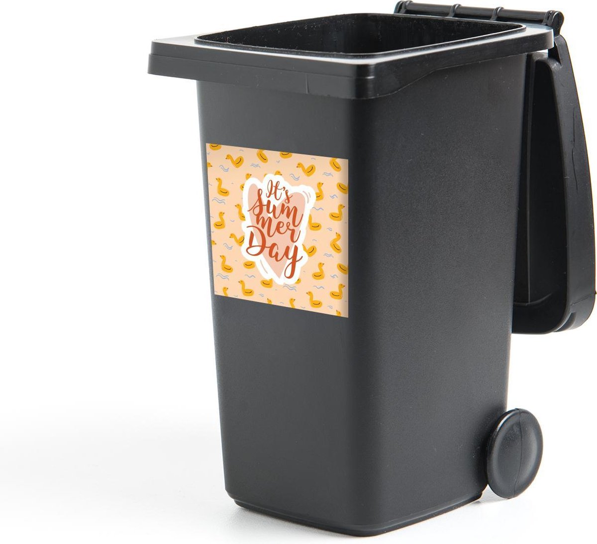 Container sticker Zwemband - Roze - Geel - 40x40 cm - Kliko sticker