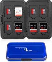 Clever4Ever - SD Kaart houder - 16 plekken - Waterdicht - Geheugenkaart houder - Micro-SD kaart houder - Blauw