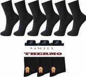6 paar badstof THERMO sokken (zwart)