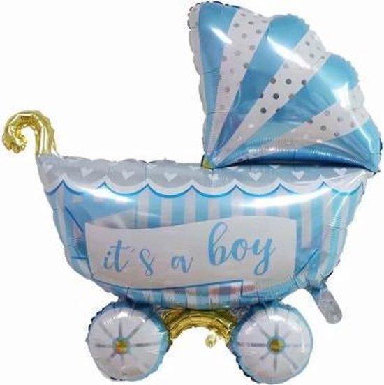 Kinderwagen ballon - XL -94x81cm - Blauw - Folie ballon - Themafeest - Babyshower - Geboorte - It