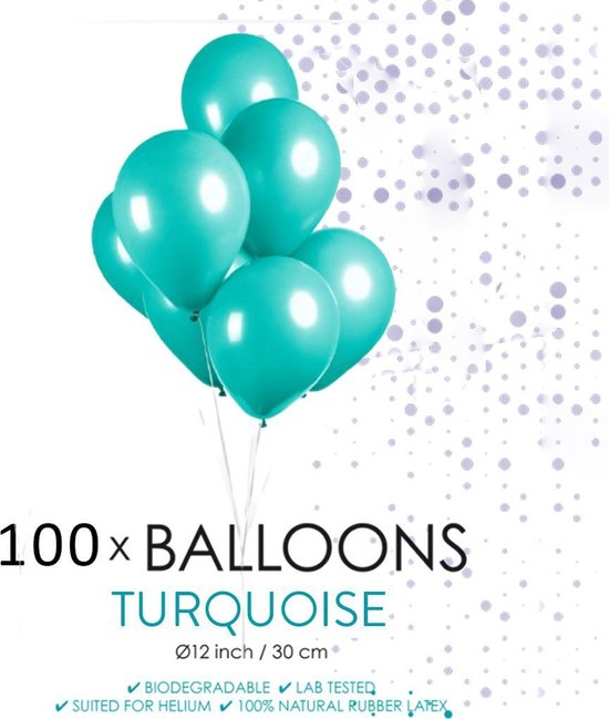 Globos Ballonnen 30,5 Cm Latex Turquoise 100 Stuks
