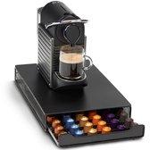 KitchenBrothers Capsule Houder met Lade - Geschikt voor Nespresso - Espresso Koffie Pad en Cups Houder - 60 Capsules - RVS - Zwart