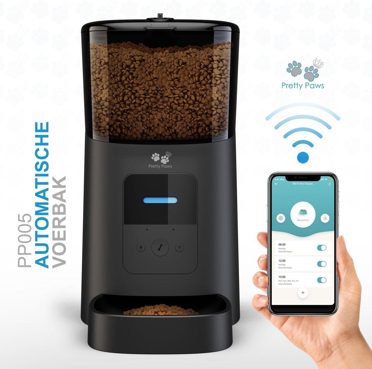 Pretty Paws  - PP005 - Wifi Voerautomaat Zwart - Automatische Voerbak - Slimme Voerautomaat met App