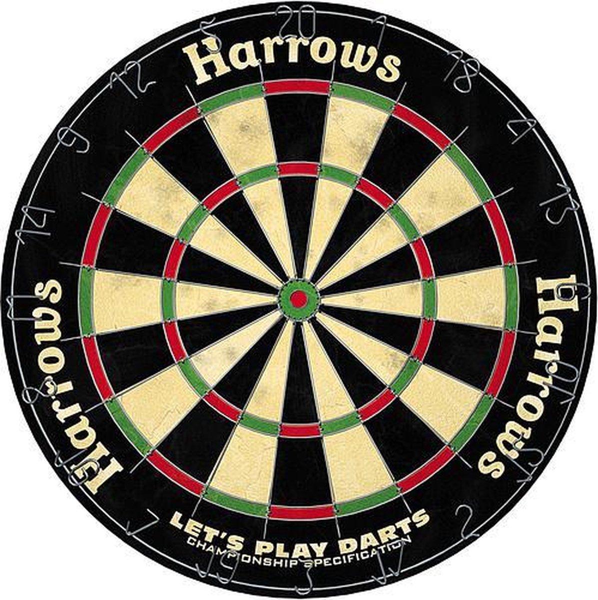 Harrows Dartset Dartbord met Dartpijlen - Sisal/Staal 7-Delig