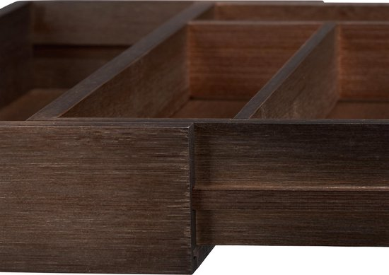 relaxdays bestekbak bamboe donkerbruin - bestekcassette - besteklade hout - uitschuifbaar - Relaxdays