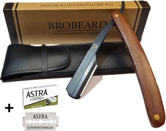 Brobeard Shavette Set - Barbiersmes Hout - Open Scheermes Inclusief Hoes en Astra Mesjes