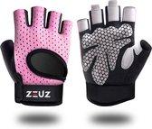ZEUZ® Sport & Fitness Handschoenen Dames – Krachttraining Artikelen – Gym & Crossfit Training – Roze & Zwart – Gloves voor meer grip en bescherming tegen blaren & eelt - Maat M