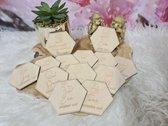 Mijlpaal schijven hout - hexagon - kraamcadeau - set 13 stuks